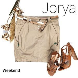 JORYA  Beige Belted Faux Zipper Pocketed Skirt 8